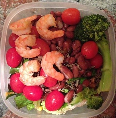 Medena's pre made post-workout snack: Romaine leaves, broccoli, kidney beans, wild rice, cherry tomatoes and shrimps