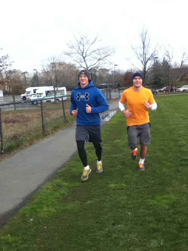 Athletes Alex Rastorgouev and Dejan Knespl cooling down after a tough workout in Boston
