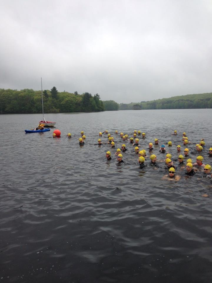 Athletes gathering at the swim start at the New England Season Opener