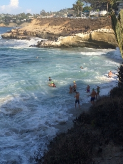 Swimmers at 'the cove' at dawn