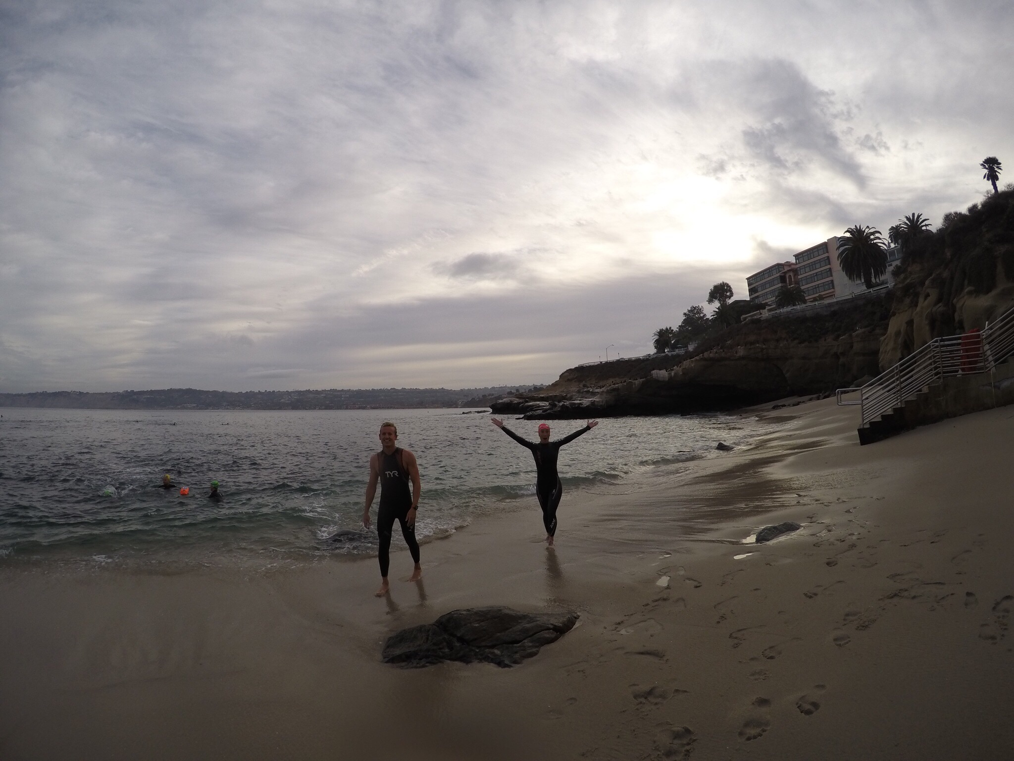 ECSTATIC SWIMMERS BRYCE AND ANNE AFTER THEIR SWIM IN THE COVE. THIS COULD BE YOU!