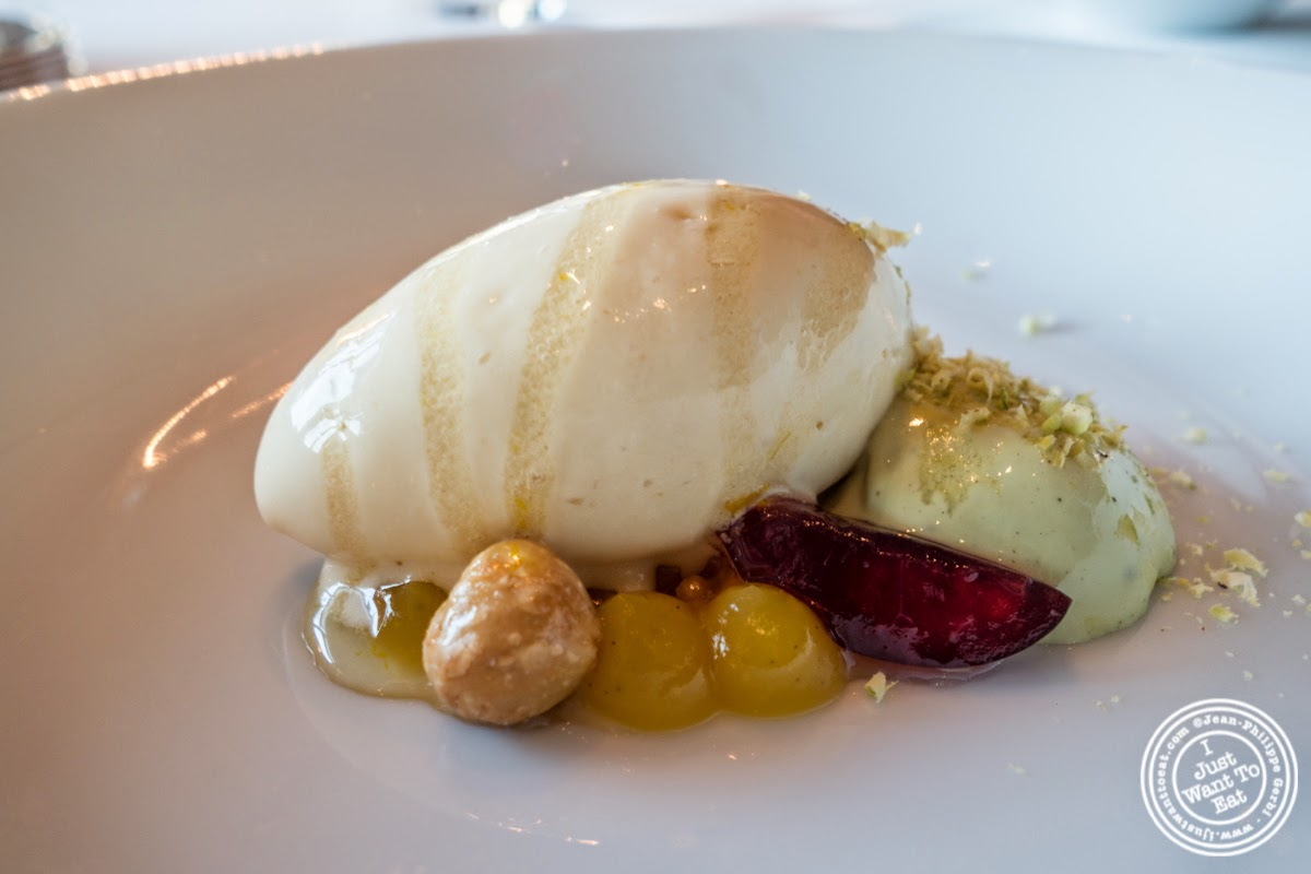 toasted almond ice cream with a garniture from Montélimar at Per Se in New York, NY