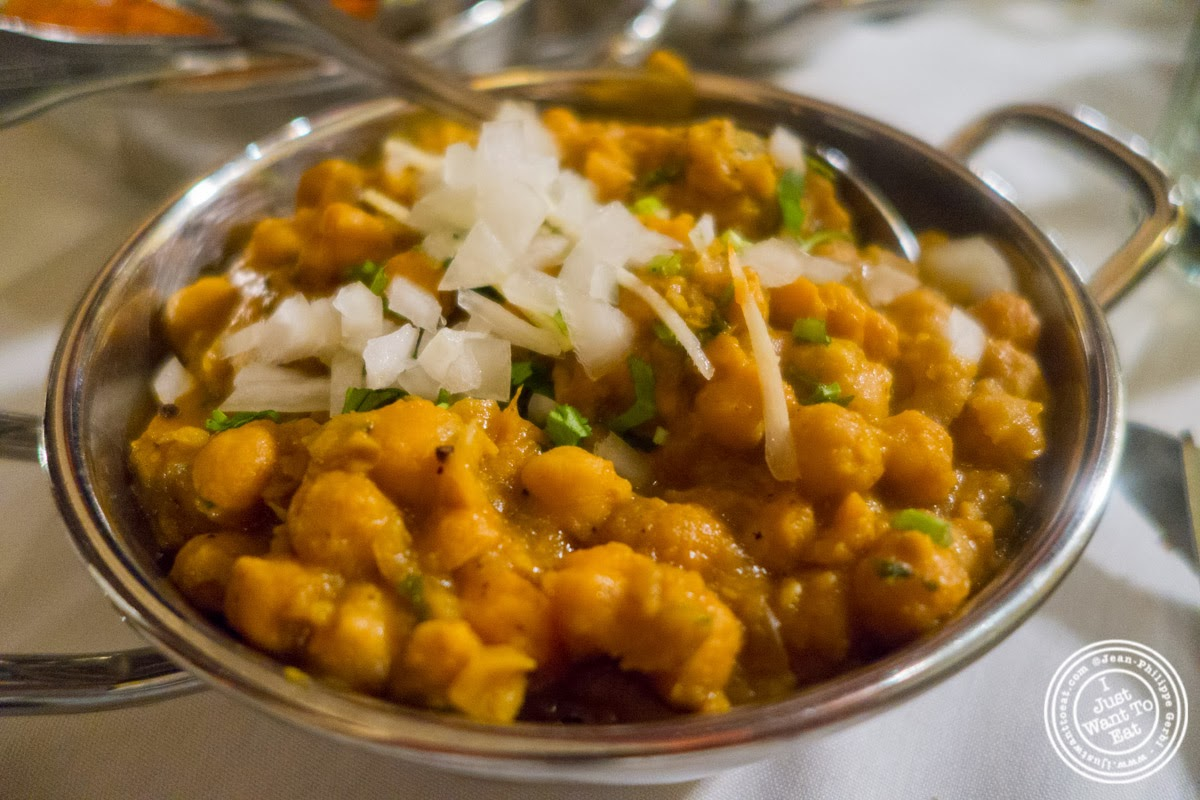 chana masala at Brick Lane Curry House in the East Village, NYC, New York