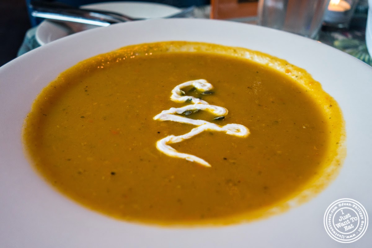 Butternut squash soup at Sounds Of Brazil SOB's in NY, New York