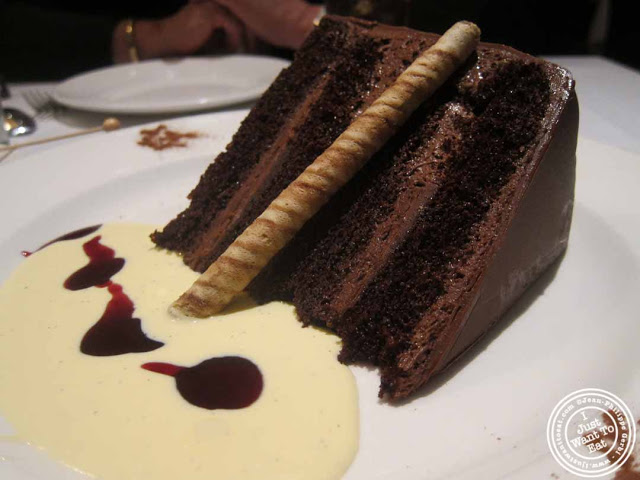 chocolate hazelnut cake at The Capltal Grille in Midtown, NYC, New York