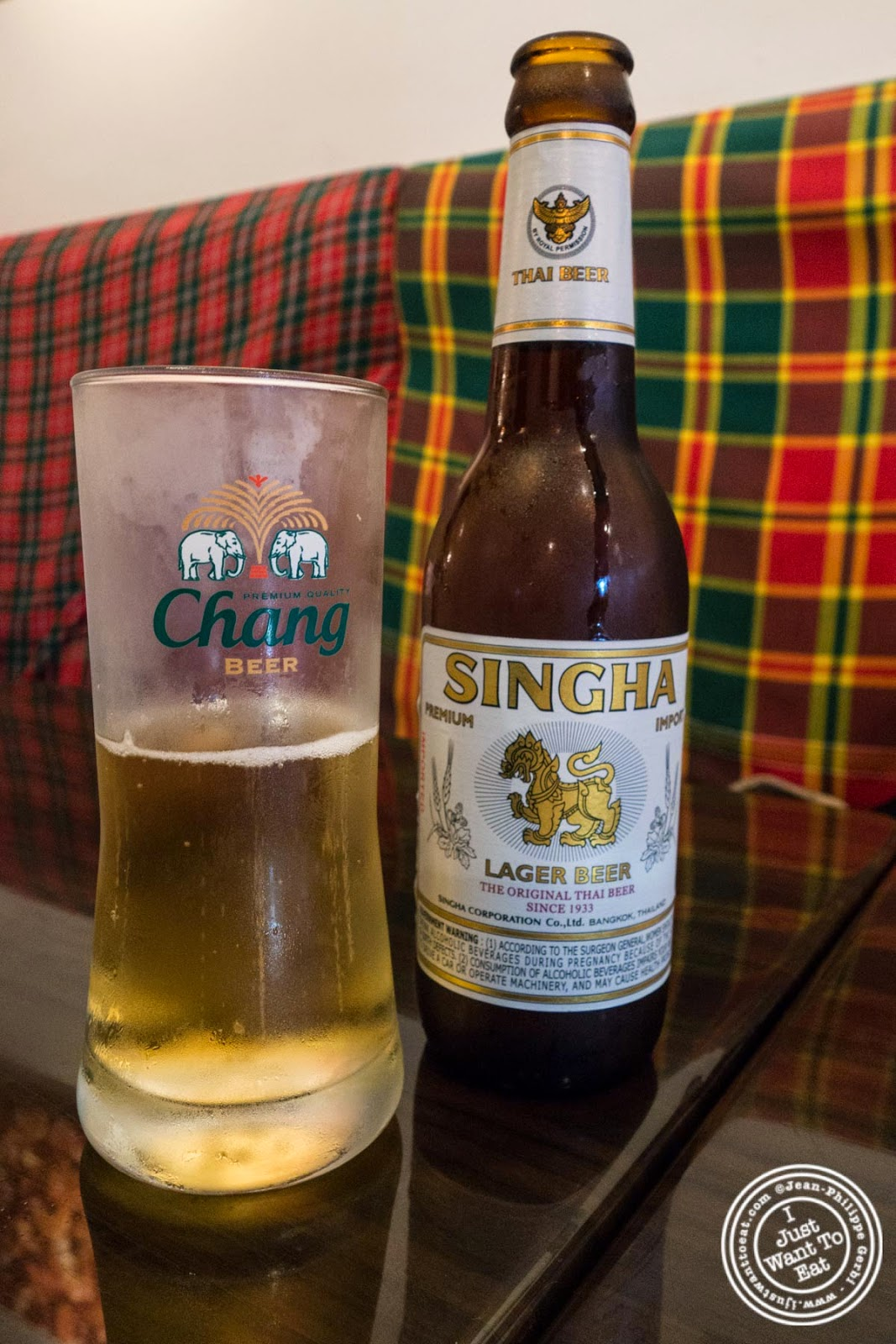 singha beer at Larb Ubol, Thai restaurant in Hell's Kitchen, NYC, New York