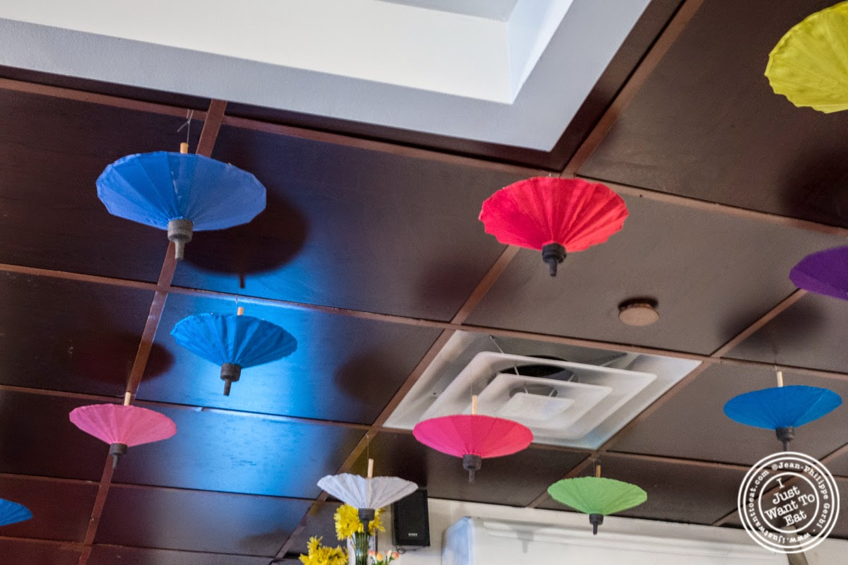 umbrellas at Larb Ubol, Thai restaurant in Hell's Kitchen, NYC, New York