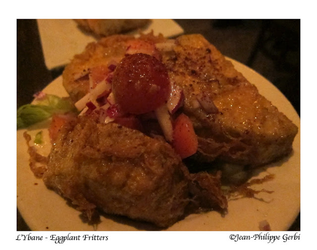 Eggplant fritters at L'Ybane in NYC, New York