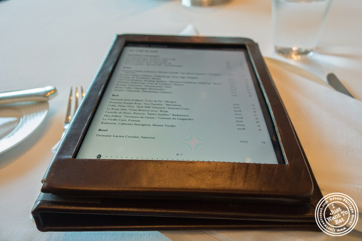 wine list on iPad at Per Se in New York, NY