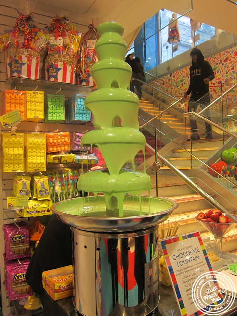 Chocolate fountain at Dylan's Candy Bar in NYC, New York