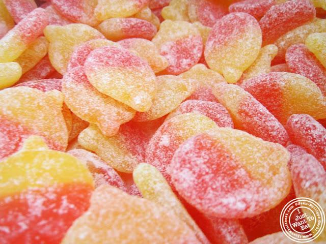 Sura Persikor or sour peach candies at Sockerbit in NYC, New York