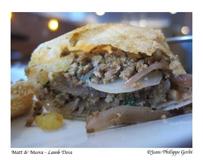 Lamb dosa at Matt and Meera Indian restaurant in Hoboken, NJ New Jersey
