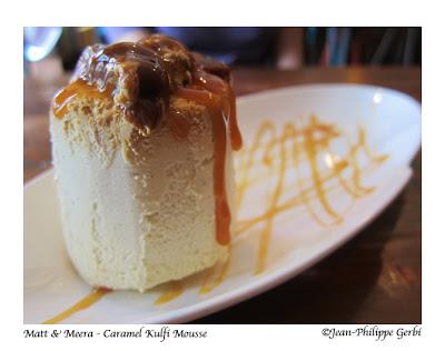 Caramel Kulfi mousse at Matt and Meera Indian restaurant in Hoboken, NJ New Jersey