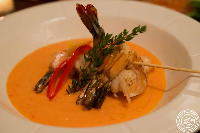 Chilled tomato soup with shrimp at Abbottega, Italian Restaurant in NYC, New York