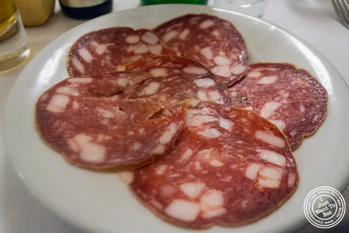 salami at Trattoria Sostanza, communal dining in Florence, Italy