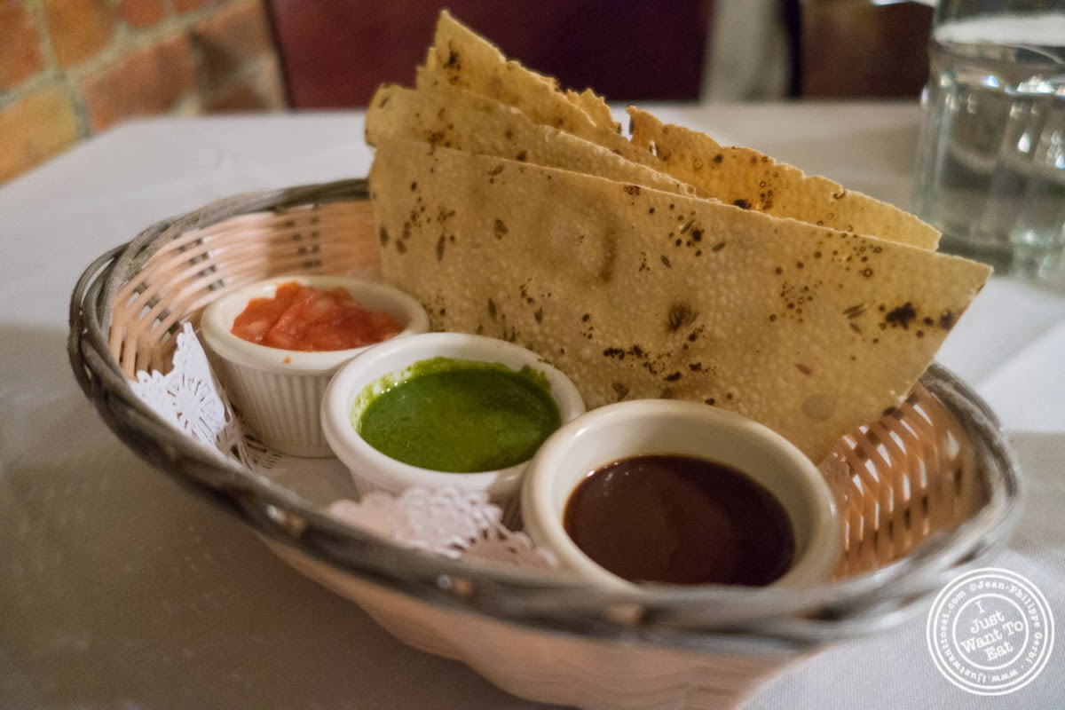 papadam at Brick Lane Curry House in the East Village, NYC, New York