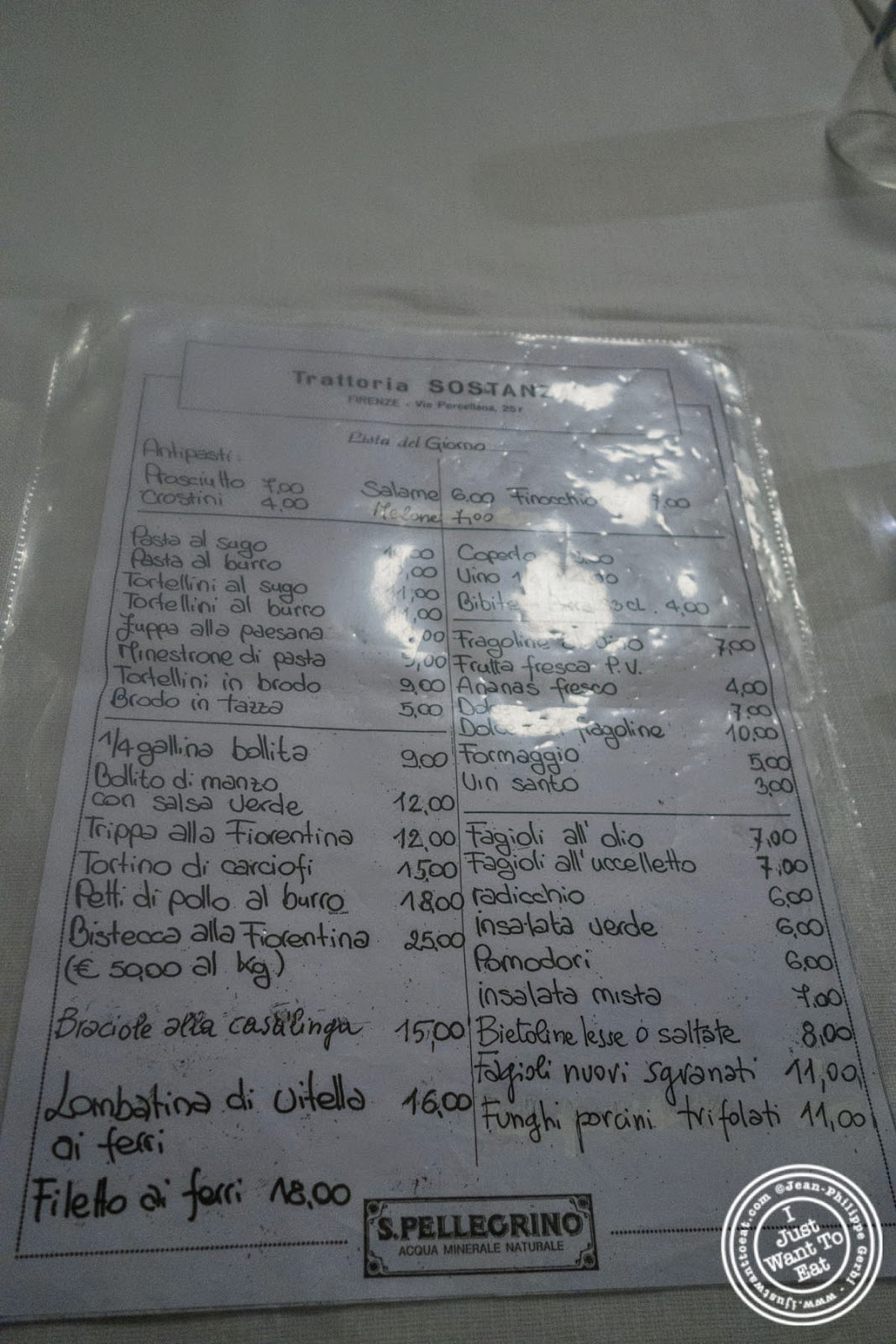 menu at Trattoria Sostanza, communal dining in Florence, Italy