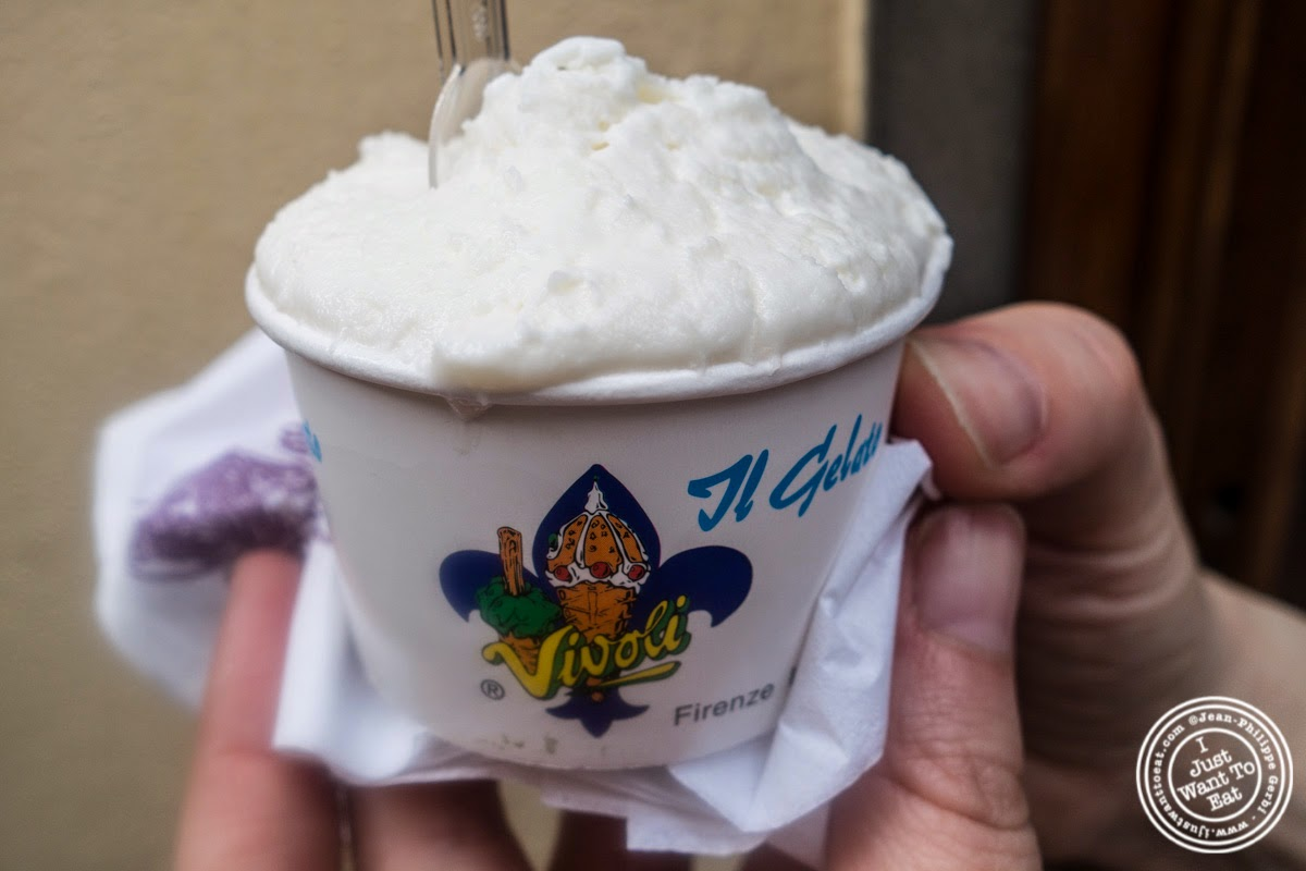 coconut gelato at Vivoli in Florence, Italy