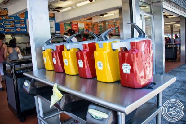 Ketchup and mustard at Nathan's in Coney Island Luna Park in Brooklyn, NY