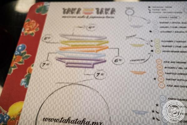 menu at Taka Taka in New York, NY