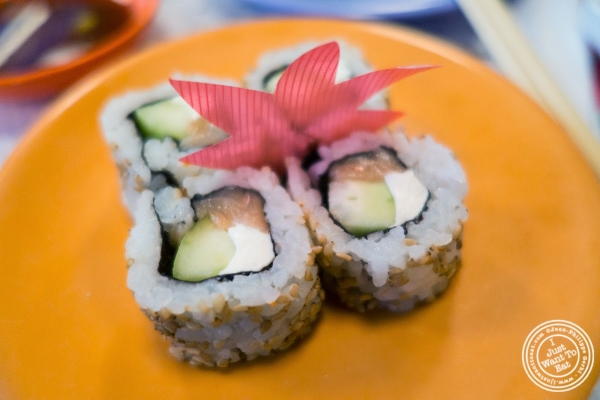 salmon, cream cheese, cucumber rolls at Taka Taka in New York, NY