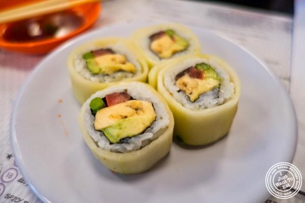 banana, tomato, asparagus and avocado rolls at Taka Taka in New York, NY