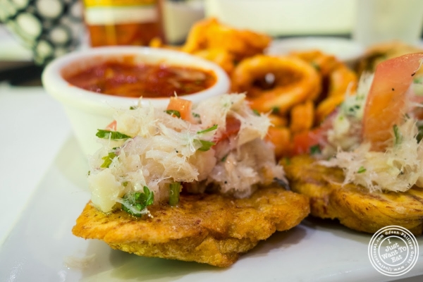 tostones montaditos at Don Coqui, Puerto Rican restaurant in Astoria, NY