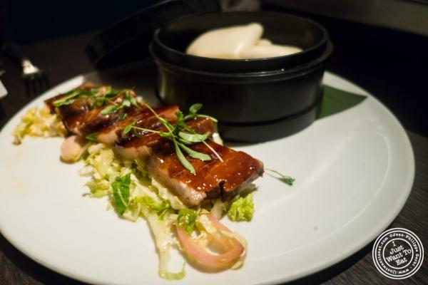 Hoisin glazed pork belly atBuddakan in New York, NY