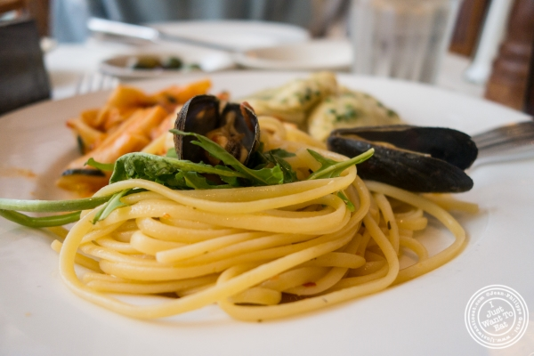 Linguine with mussels at Becco in New York, NY