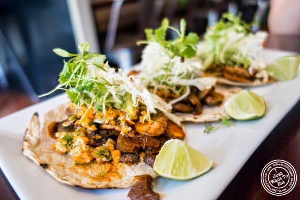 tacos trio at Café Blossom on Carmine, New York, NY