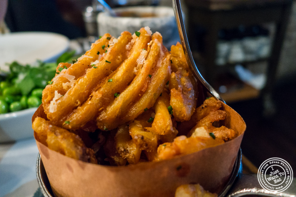 Waffle fries at Quality Meats Steakhouse, New York, NY