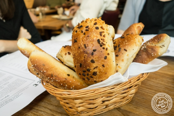 Bread basket at Peter Luger Steakhouse in Brooklyn, NY