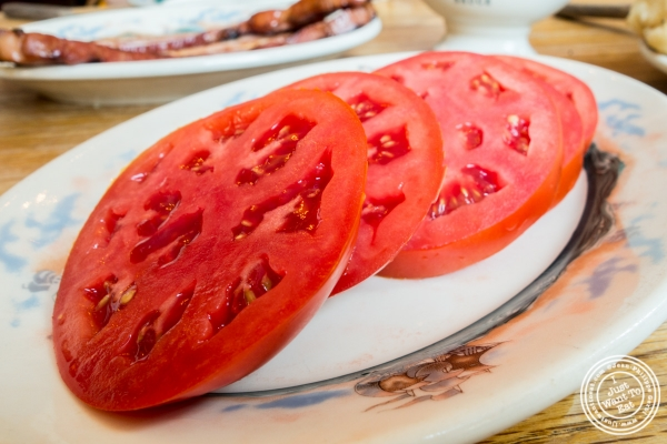 Sliced tomato at Peter Luger Steakhouse in Brooklyn, NY