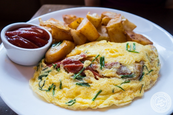 Goat cheese omelet at The Brass Rail in Hoboken, NJ
