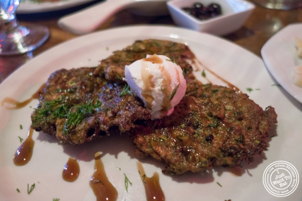 Zucchini pancakes at Pierre Loti Wine Bar in New York, NY