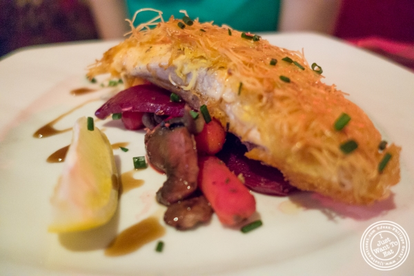 P an seared salmon at Pierre Loti Wine Bar in New York, NY