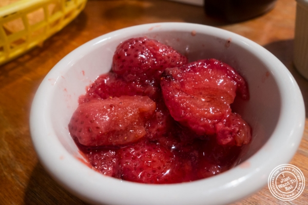 Strawberries for French toast atEast LA in Hoboken, NJ