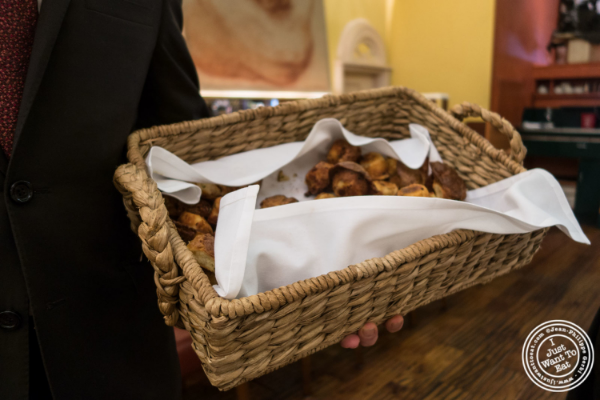 Basket of muffins at Trattoria Dell'Arte in New York, NY