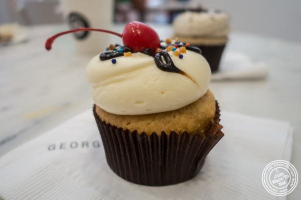 Banana split cupcake at Georgetown cupcake in Soho, New York, NY