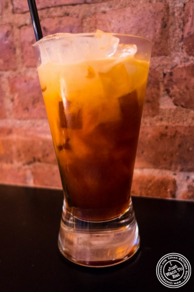 Thai iced tea at  Bangkok House in Hell's Kitchen, NY, New York