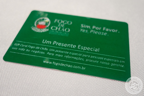 Green card at Fogo De Chao in Sao Paulo, Brazil