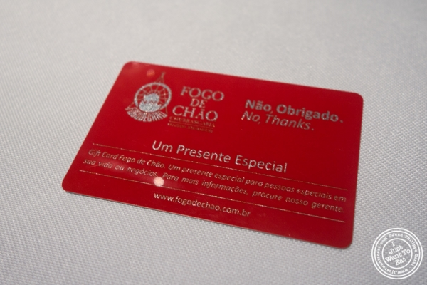 Red card at Fogo De Chao in Sao Paulo, Brazil