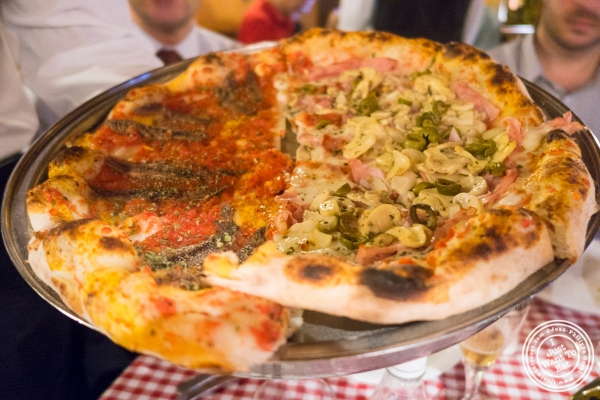 anchovies and mushroom and ham pizza at Margherita Pizzeria in Sao Paulo, Brazil
