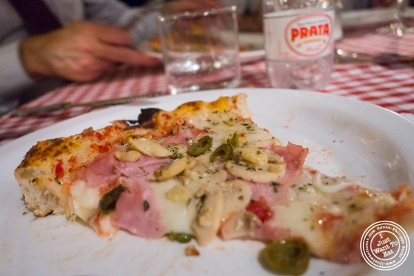 ham and mushroom pizza at Margherita Pizzeria in Sao Paulo, Brazil