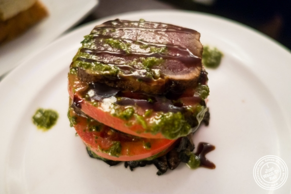 Stacked seared tuna atEatery, Theater District, NYC, New York