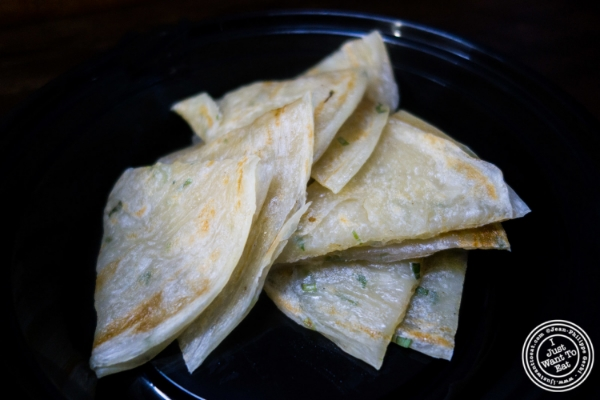 Scallion pancakes atLo Fatt Chow, Healthy Chinese Cuisine, in Hoboken, NJ