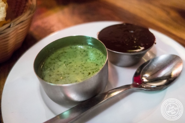 Mint and cilantro sauce (left) / Tamarind sauce (right) at Baluchi's, Indian restaurant in Tribeca, NYC, New York