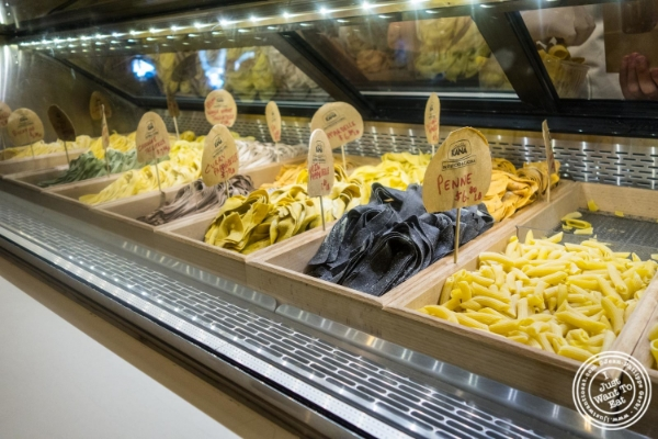 Fresh pasta at  Giovanni Rana in Chelsea Market, NYC, New York