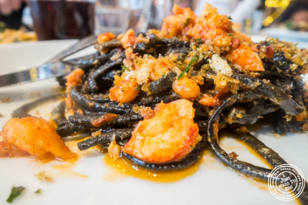 Squid ink linguine and lobster     at   Giovanni Rana in Chelsea Market, NYC, New York