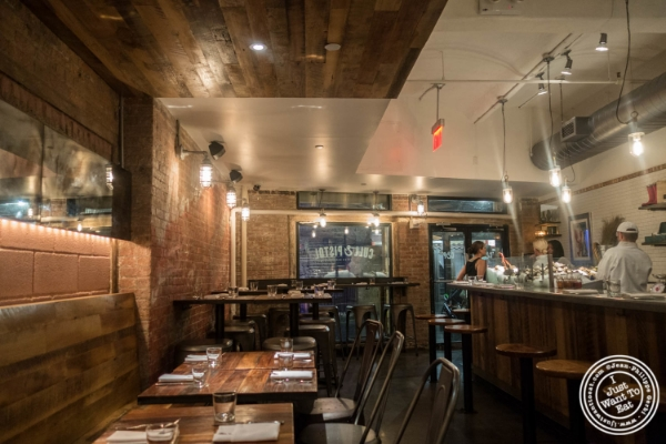 Dining room at  Cull and Pistol at Chelsea Market, NYC, New York